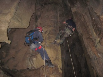 Rappelling into Signal Light Cave