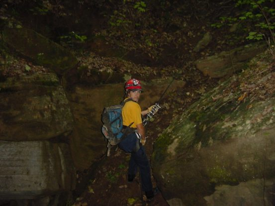 Rappelling into Cemetery Pit