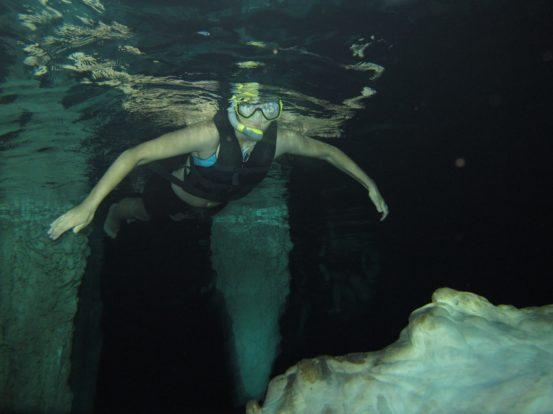 Snorkel caving.