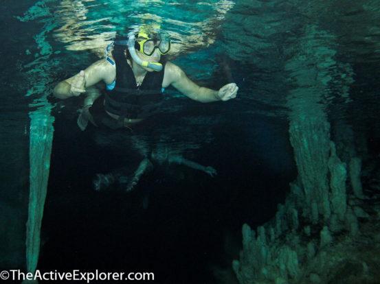 Snorkeling inside Nohoch Nah Chiich cavern