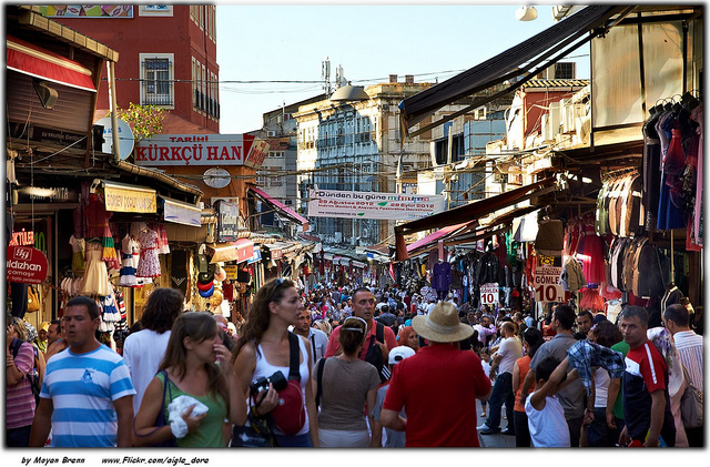 Istanbul, Turkey, a typical view of crowded Gran bazaar during afternoon