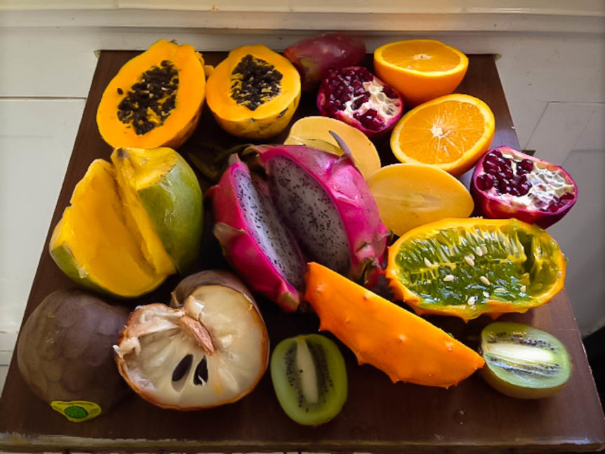 Ingredients for tropical fruit bowl