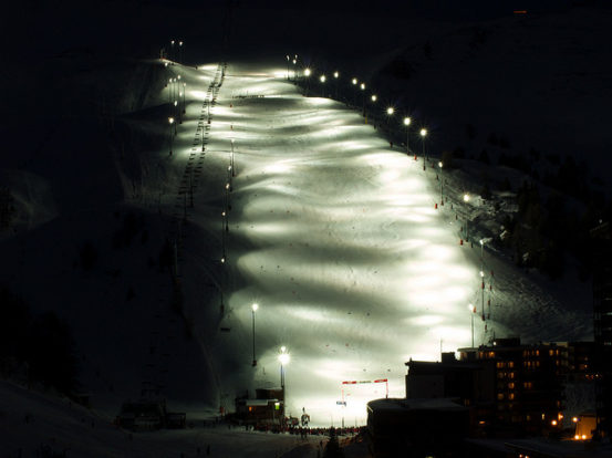 Moonlight Skiing in La Plagne, France