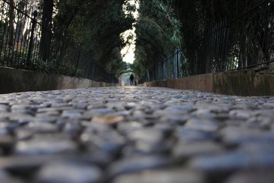 Cobblestone walkway in Granada Spain