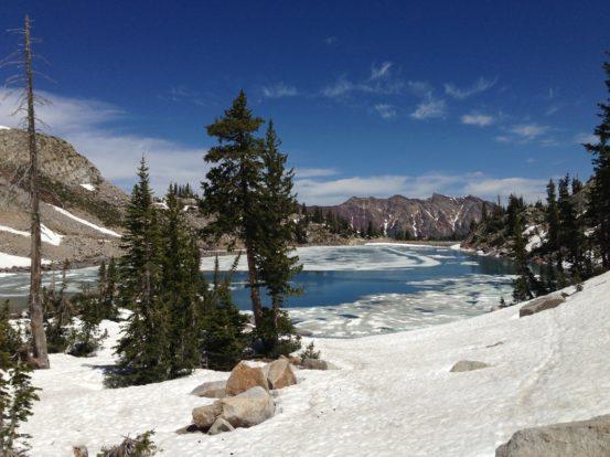 Snowy banks at White Pine Lake