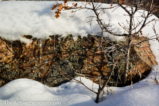 Snow, ice and rock at Red Butte